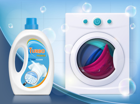 Liquid washing powder. Packaging with laundry detergent. Washing machine with linen. Vector illustration.