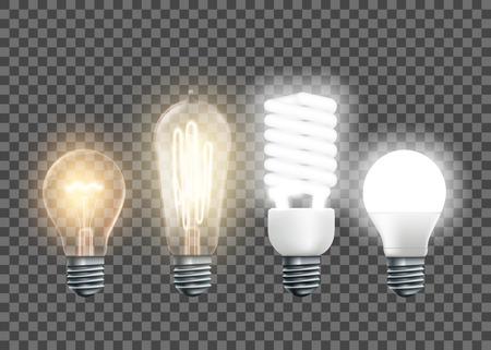 Ensemble de lampes électriques, tungstène, Edison, fluorescentes et led. Isolé sur un fond transparent. Illustration vectorielle.
