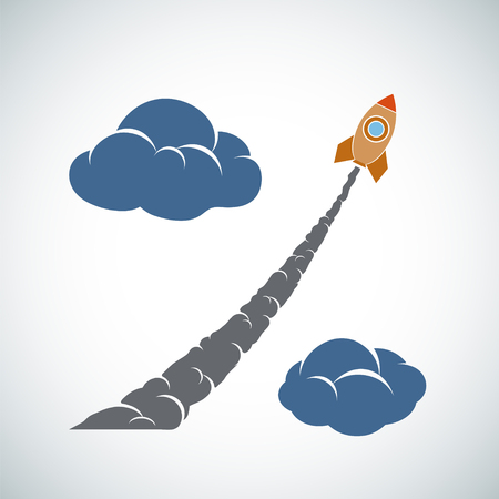 Rocket flies in the clouds. Percent sign. Vector illustration. Illustration