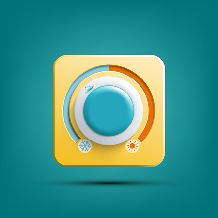 Icon thermostat. Climate control regulator. Switch toggle hot and cold temperatures. Vector illustration. Stock Illustratie