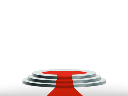 Round podium with red carpet. Isolated on white. Background for the award ceremony. Vector illustration.