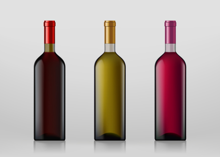 Set of wine bottles. Isolated on gray background. Vector illustration.