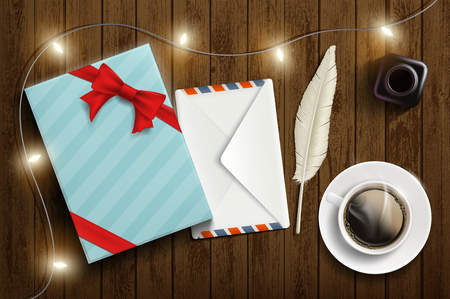 Gift box with a letter in an envelope and a cup of coffee. Vector illustration. Stock Illustratie