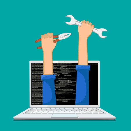 Human hands holding tools pliers and wrench in a laptop screen. Repair, service and maintenance of computers. Vector illustration.