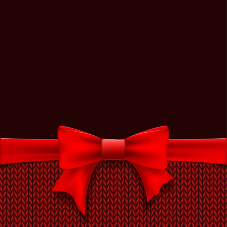 Red bow with ribbon and knitted jersey. Template Christmas greeting card or banner. Vector illustration