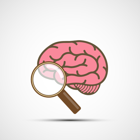 Icon human brain and magnifying glass. Vector illustration.