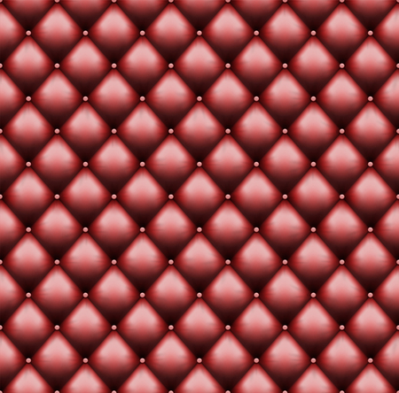 Red leather upholstery with sewin rivets. Luxury background. Seamless pattern. Vector illustration. Stock Illustratie