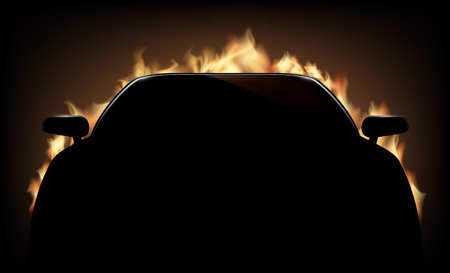 Silhouette of car with flame and fire on dark background. Vector illustration.