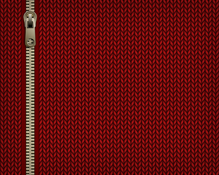 Red knitting jersey background with sewing accessory zipper. Vector illustration.