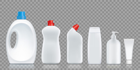 Set bottles with detergent, soap, washing powder, cream. Isolated on a transparent background. Vector illustration.
