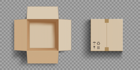 Empty open and closed cardboard box. Isolated on a transparent background. Vector illustration. Stock Illustratie