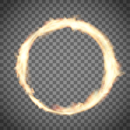 Circus ring or hoop on fire. Flame on transparent background. Vector illustration.