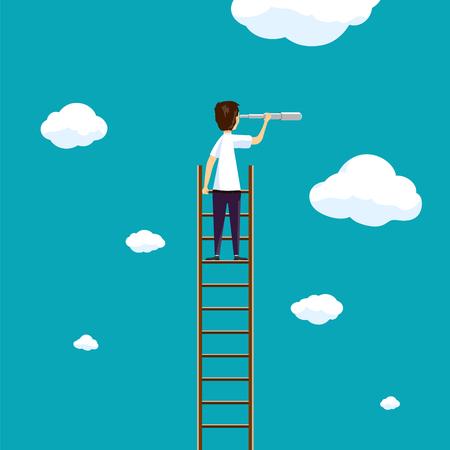Mann steht auf einer Leiter am Himmel mit Wolken. Entwicklung und Geschäftsmöglichkeiten.