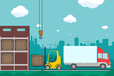Warehouse with boxes and containers. Transportation by truck. Cargo delivery. Stock vector illustration.