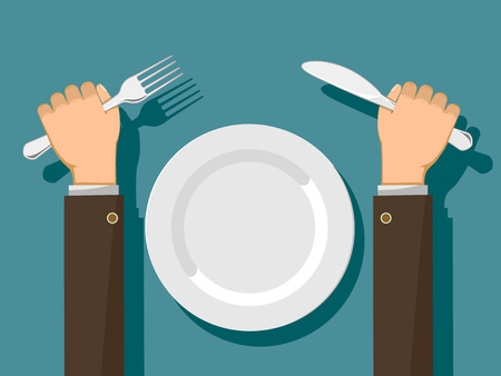 Fork and knife in hands and a white empty plate. Vector flat graphic illustration.