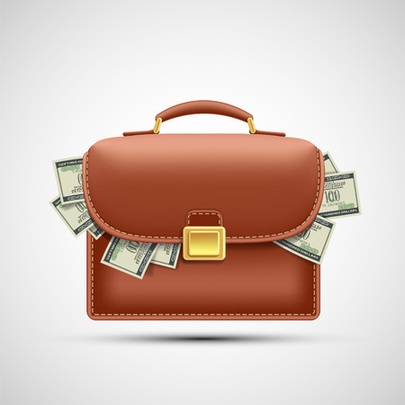 Brown briefcase with paper currency dollars. Isolated on white background. Vector illustration.