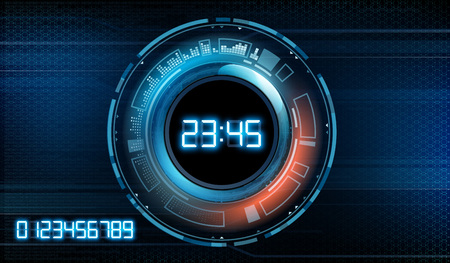 Futuristic modern clock face with a set of glowing digits. HUD user interface with technology stopwatch. Vector illustration.