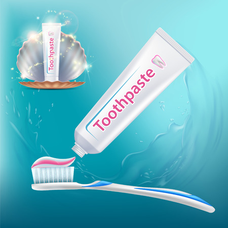 Toothbrush with toothpaste. Tube packaging with label design. Dental hygiene of teeth. Vector illustration.