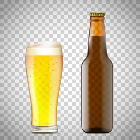 Glass of beer and a bottle. Isolated on a transparent background. Vector illustration. Stock Illustratie