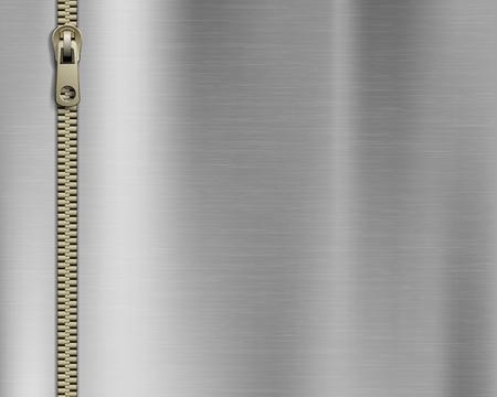 Reißverschlussnähen auf Metallhintergrund. Vektor-Illustration. Vektorgrafik