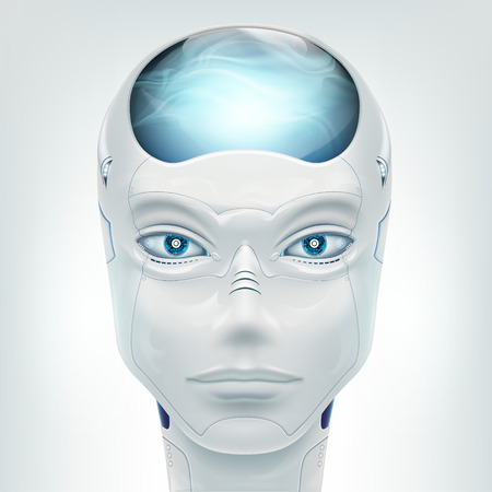 Face robot android. Isolated on white background. Vector illustration. Stock Vector - 116599225