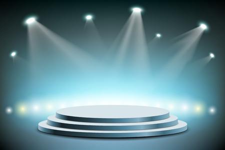 I faretti illuminano un palcoscenico rotondo. Illustrazione di riserva di vettore.