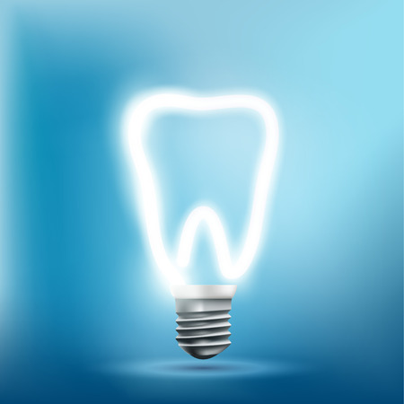 Implant human tooth as a light bulb. Vector stock illustration.