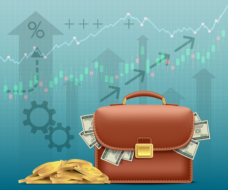 Briefcase with paper money dollars and a pile of gold coins. Financial graphs and charts. Vector illustration.