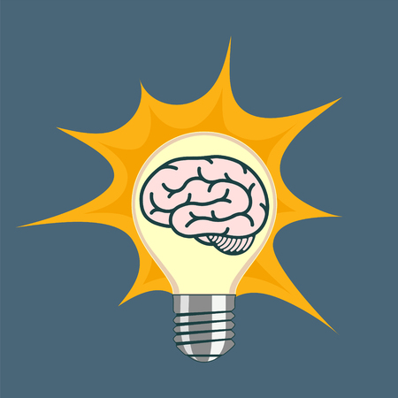 Light bulb with human brain inside. Stock vector illustration. Stock Vector - 116599226