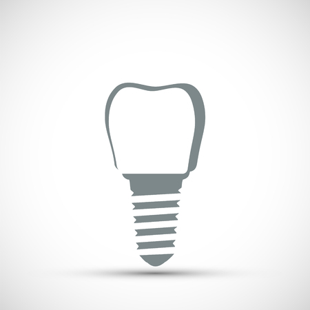 Logo dental implant. Isolated on white background. Vector icon illustration.