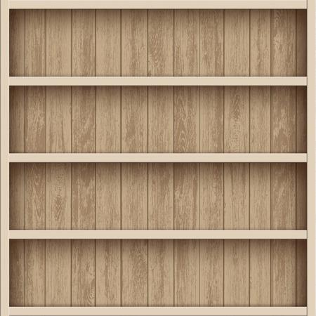 Wooden empty bookshelf. Shelves for the warehouse. Stock vector illustration.