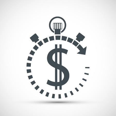 Icon currency dollar sign in a stopwatch. Vector stock logo