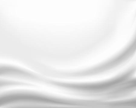 Tessuto di seta bianco. La trama del panno con pieghe. Sfondo vettoriale d'archivio.