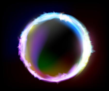 Fond de plasma brûlant en cercle. Flamme avec décharges électriques. Illustration vectorielle.