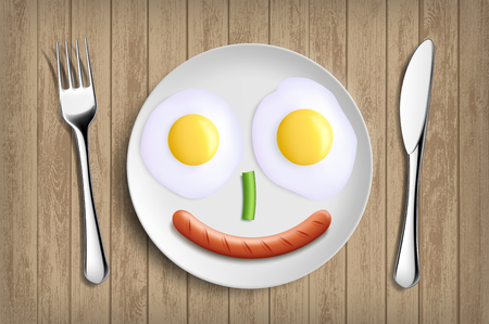 Plate with fried eggs, vegetable and sausage like a smiling face. Vector realistic illustration Stock Illustratie