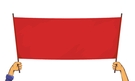 People are holding a red banner. Isolated on white background. Vector illustration.