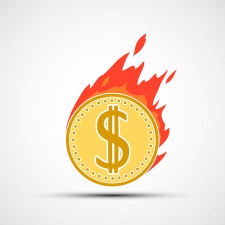 Coin dollar on fire. Money burning in flames. Vector illustration Stock Vector - 116599233