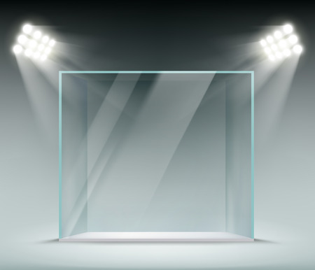 Glass transparent cube illuminated by spotlights. Showcase for the sale of goods. Vector illustration.