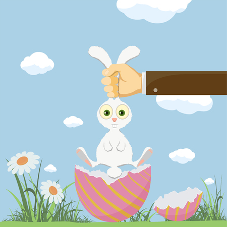 Easter egg and cute bunny. Festive background with meadow and flowers. Vector illustration Stock Illustratie