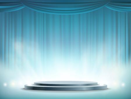 Spotlights illuminates a round stage. Art background with blue curtain. Vector illustration. Illustration