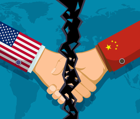 Trade war policy between the USA and China. Handshake of two people. Vector illustration.