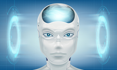 Head robot android. On modern technology background. Vector illustration. Stock Vector - 116599238