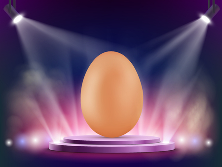 Brown chicken egg on stage. Easter background with spotlights. Vector illustration.