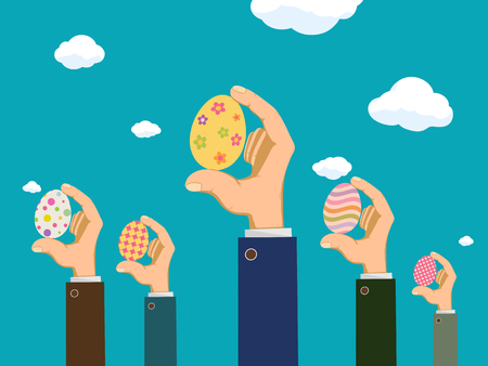 Easter eggs in the hands of people. Festive background with sky and clouds. Vector illustration Stock Illustratie