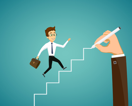 Man is runs up the stairs. Career and business development. Hand draws a ladder. Vector flat graphic illustration.