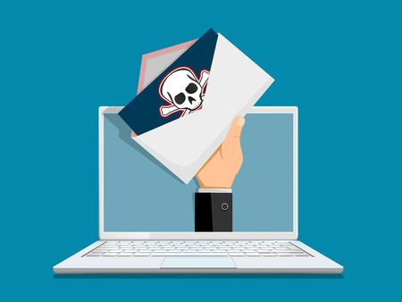 Envelope with spam on laptop screen. Pirate sign skull and crossbones at the mail. Vector illustration.