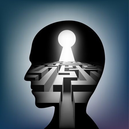 Labyrinth in the human head. Maze with a keyhole. Vector illustration.