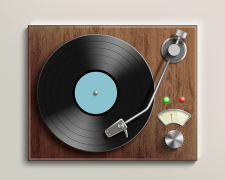 Vintage record player with retro vinyl disc. Vector realistic illustration.