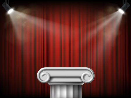 Antique marble column. Podium on the background of a red curtain. Vector illustration.