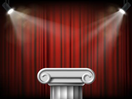 Colonna di marmo antica. Podio sullo sfondo di un sipario rosso. Illustrazione vettoriale.